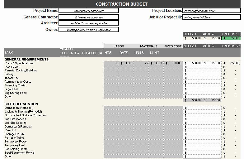 Construction Project Budget Template Fresh Construction Bud Template – Free Detailed Bud
