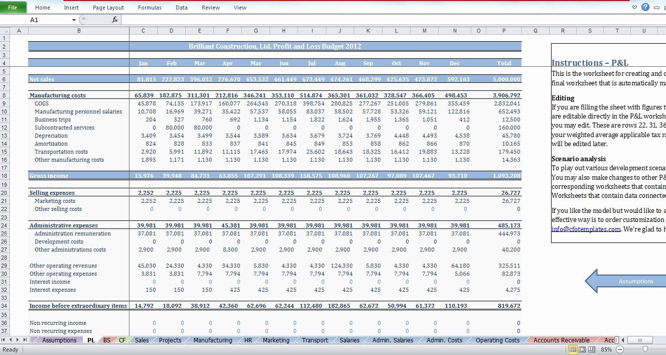 Construction Project Budget Template Luxury Construction Bud Template Cfotemplates