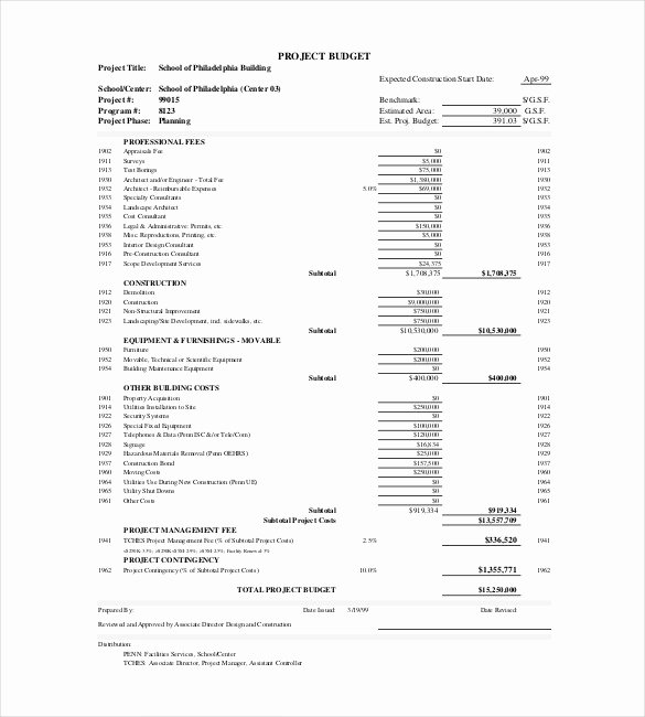 Construction Project Budget Template New 13 Project Bud Templates Doc Pdf Excel