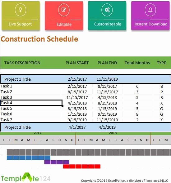 Construction Project Schedule Template Excel Beautiful Construction Schedule Template Excel for Project