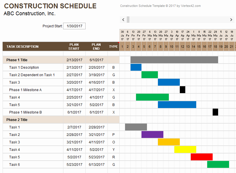 Construction Project Schedule Template Excel Best Of Construction Schedule Template