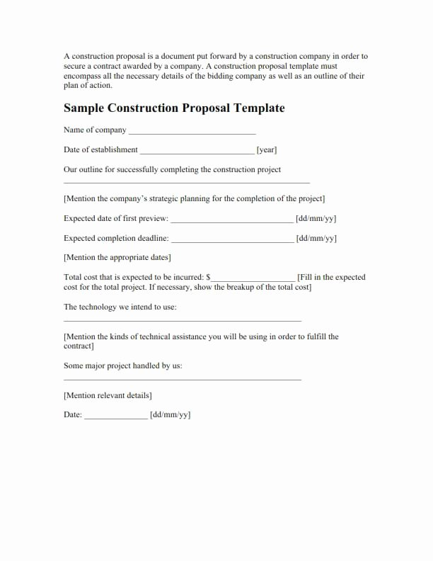 Construction Proposal Template Pdf Awesome Proposal Template Free Download Create Edit Fill and Print