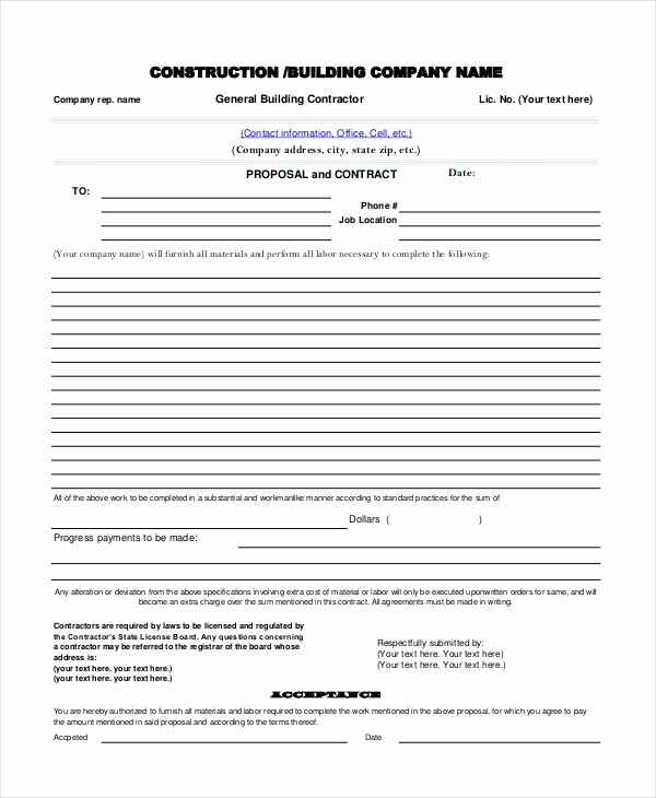 Construction Proposal Template Pdf Awesome Sample Contractor Proposal forms 7 Free Documents In