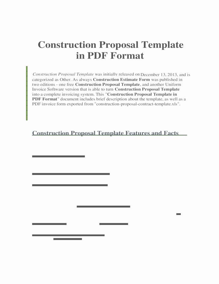 Construction Proposal Template Pdf Elegant Construction Proposal Template In Pdf format Free Download