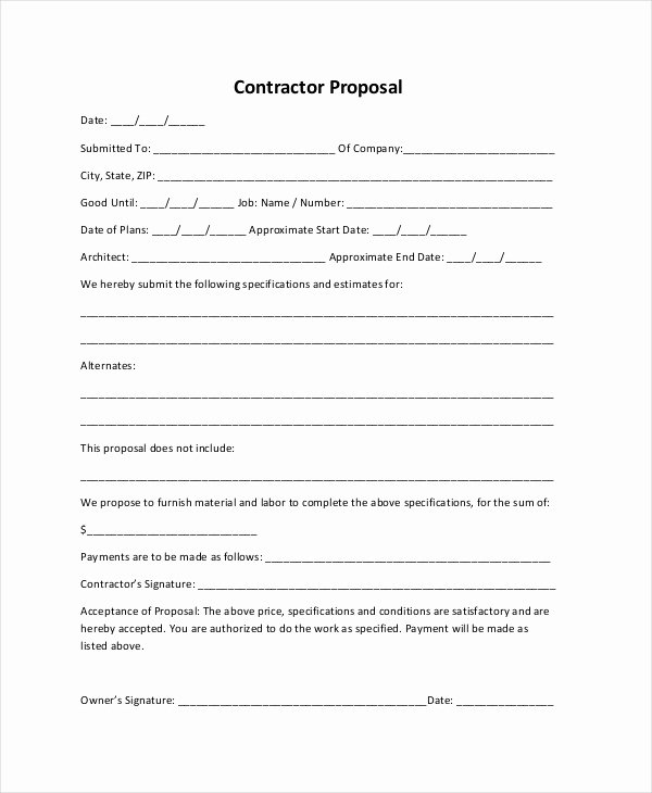 Construction Proposal Template Pdf Inspirational Sample Construction Proposal forms 7 Free Documents In