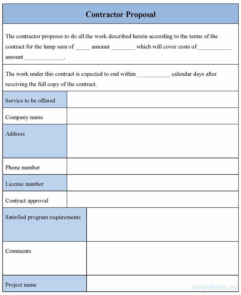 Construction Proposal Template Pdf Luxury Contractor Proposal form Sample forms