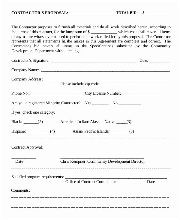 Construction Proposal Template Pdf New 15 Contractor Proposal Templates Free Word Pdf format