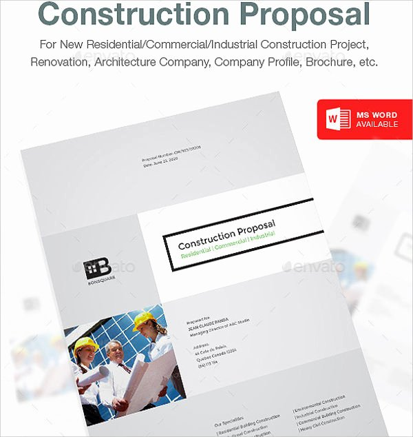 Construction Proposal Template Word Beautiful 14 Construction Proposal Templates Word Pages Pdf