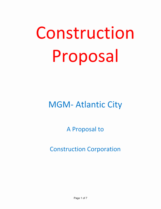 Construction Proposal Template Word Elegant Construction Proposal Template 4 Best Sample