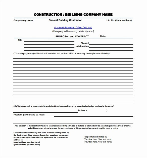 Construction Proposal Template Word Fresh Construction Proposal Template