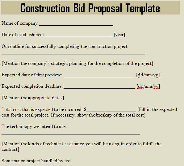 Construction Proposal Template Word Inspirational Construction Bid Proposal Template