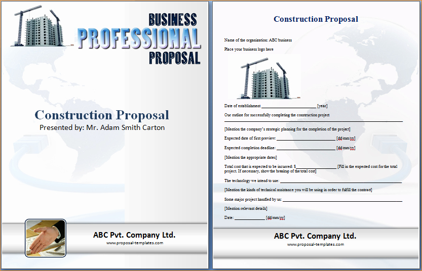 Construction Proposal Template Word Inspirational Construction Proposal Template Word Business Proposal