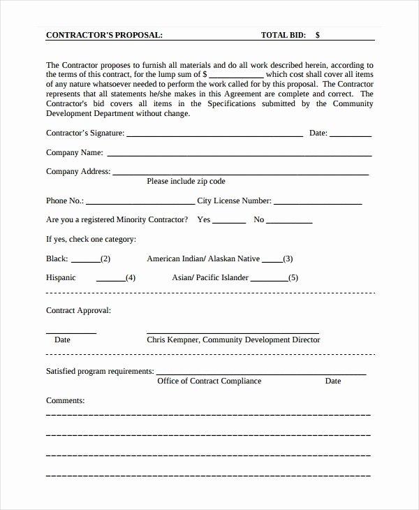 Construction Proposal Template Word Unique Contractor Proposal Template 13 Free Word Document
