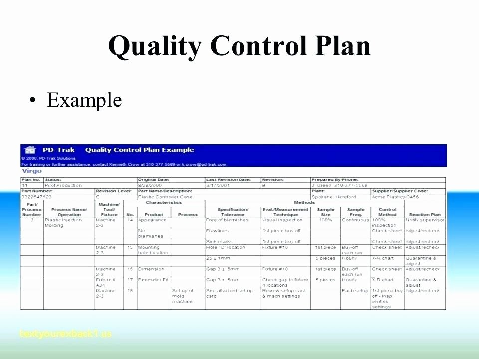 Construction Quality Control Plan Template Beautiful Quality Control Plan Example Qc Template Test