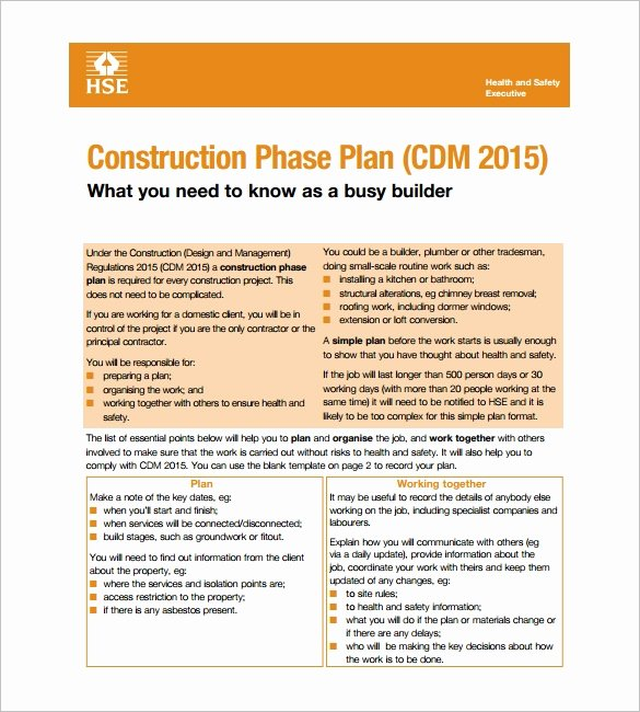 Construction Safety Plan Template Awesome 11 Health and Safety Plan Templates Google Docs Ms