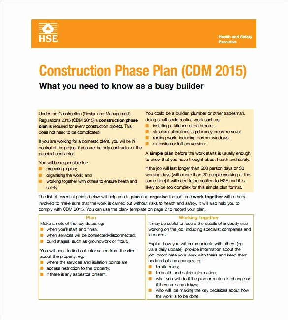 Construction Safety Plan Template Fresh Safety Policy Templates Free Sample Statement Template 9