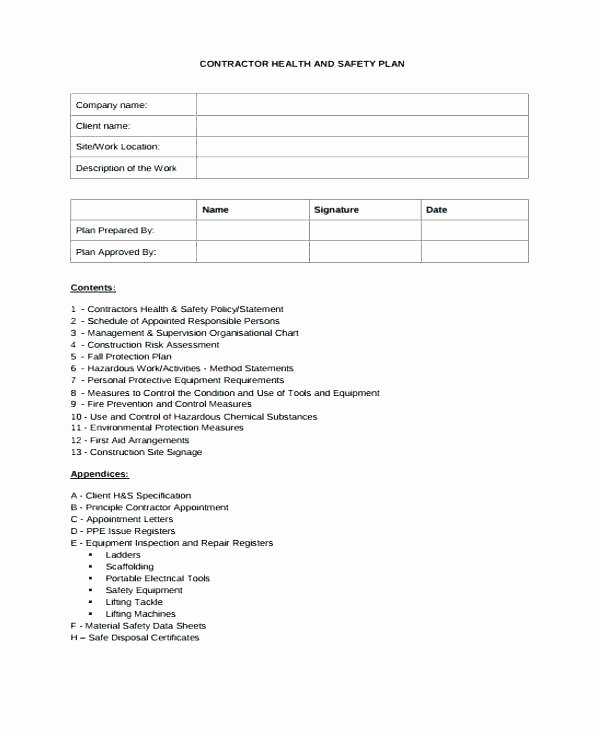 Construction Safety Plan Template Luxury Fire Safety Management Plan Template Incident Action