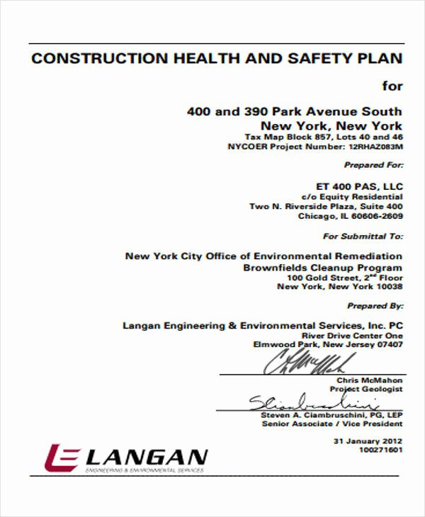 Construction Safety Plan Template New 12 Safety Plan Samples & Templates