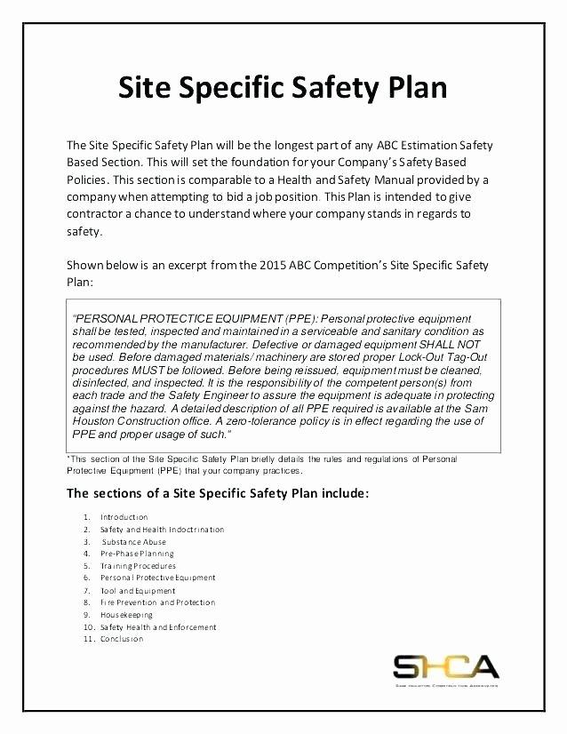 Construction Safety Plan Template Unique Contractor Safety Plan Template tor Safety Plan Template