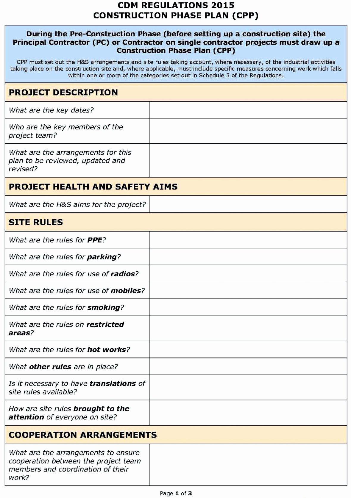 Construction Safety Plan Template Unique Hse Risk assessment Template Construction Template