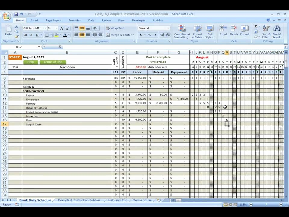 Construction Schedule Excel Template Free Best Of Construction Cost to Plete Using Excel