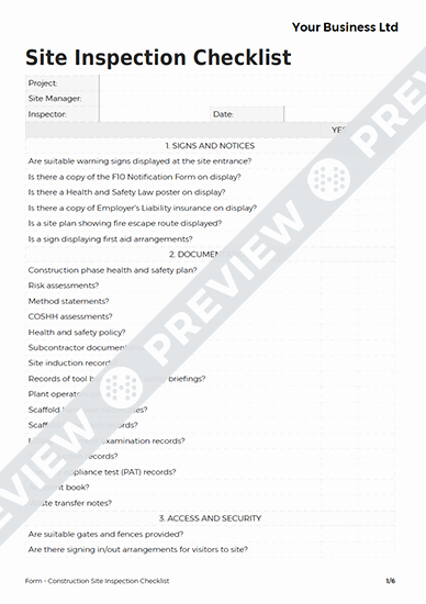 Construction Site Inspection form Template Best Of Construction Site Inspection Checklist form Template Haspod