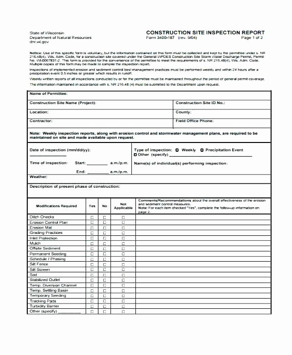 Construction Site Inspection form Template Best Of Inspection Report Templates Free Premium Hotel Site Sample