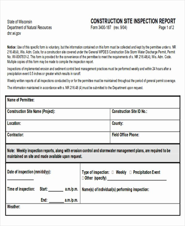 Construction Site Inspection form Template Unique 8 Sample Inspection Reports
