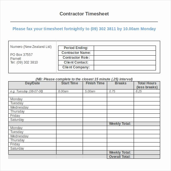 Construction Time Card Template Beautiful 17 Contractor Timesheet Templates – Docs Word Pages