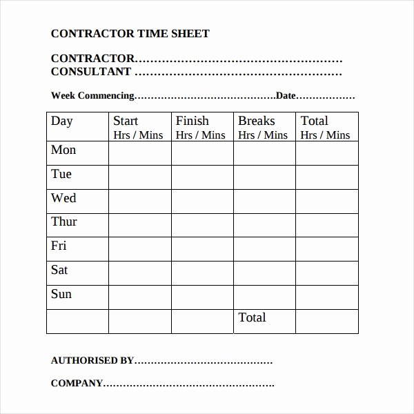 Construction Time Card Template Best Of 17 Contractor Timesheet Templates – Docs Word Pages