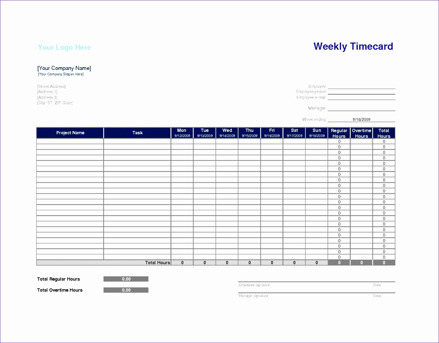 Construction Time Card Template Lovely 6 Weekly Time Sheets Exceltemplates Exceltemplates