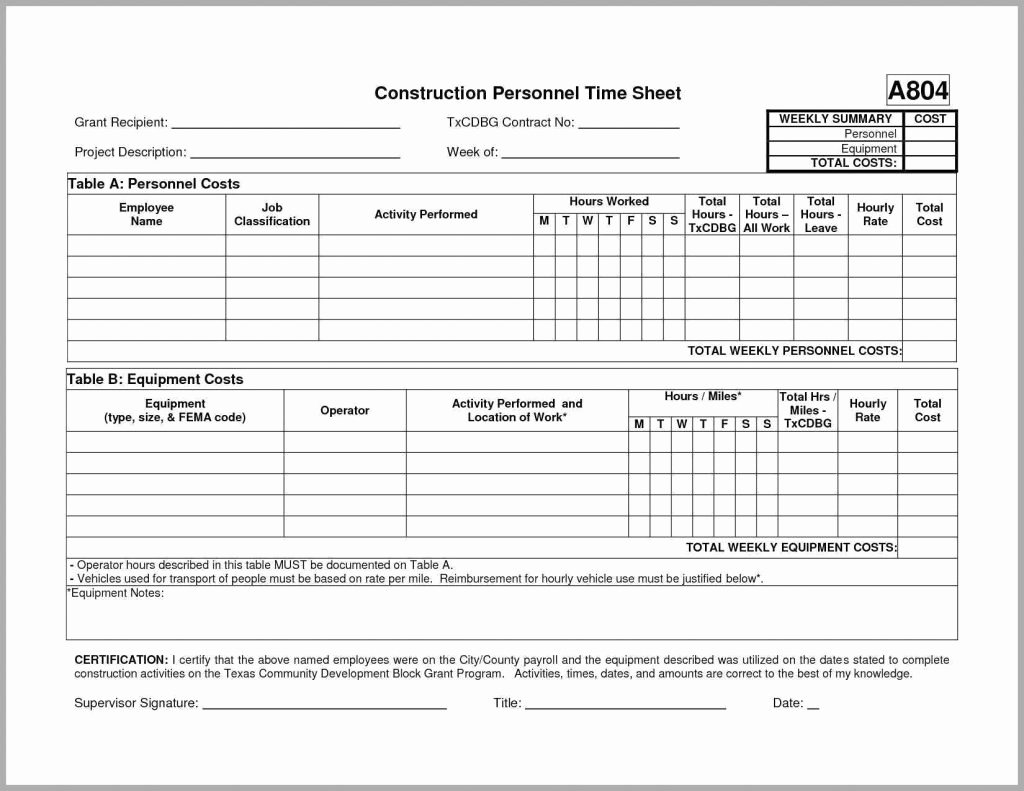 Construction Time Card Template New Time Card Spreadsheet Template Free
