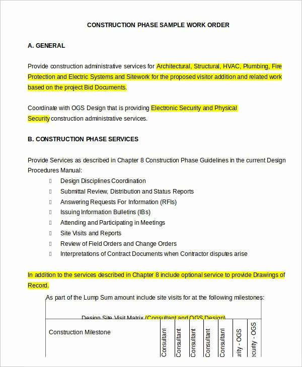 Construction Work order Template Awesome 29 order Templates In Word