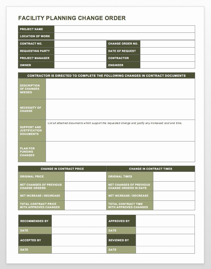 Construction Work order Template Awesome Plete Collection Of Free Change order forms