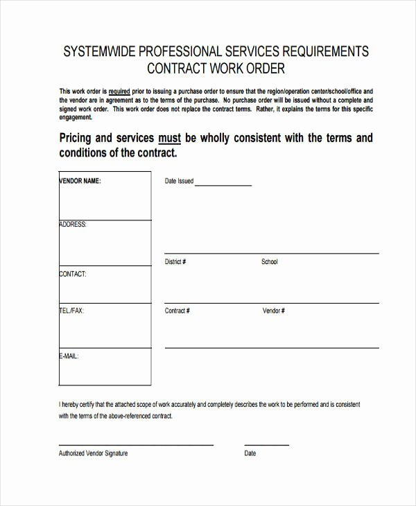 Construction Work order Template Best Of 17 Work order formats