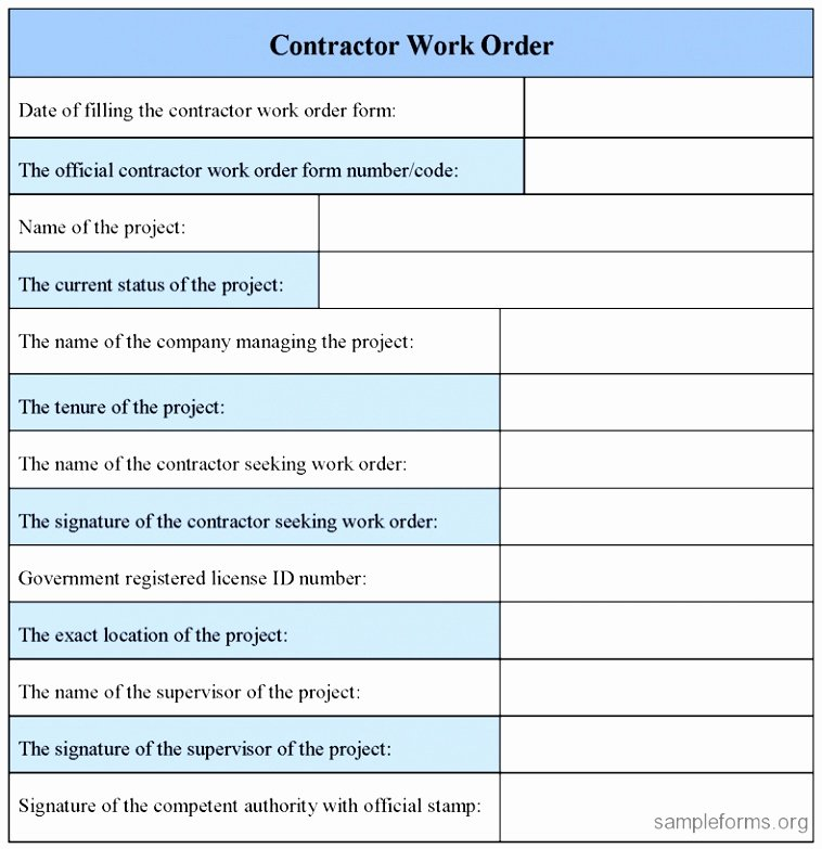 Construction Work order Template Fresh 10 Extra Work order Template Eayoe
