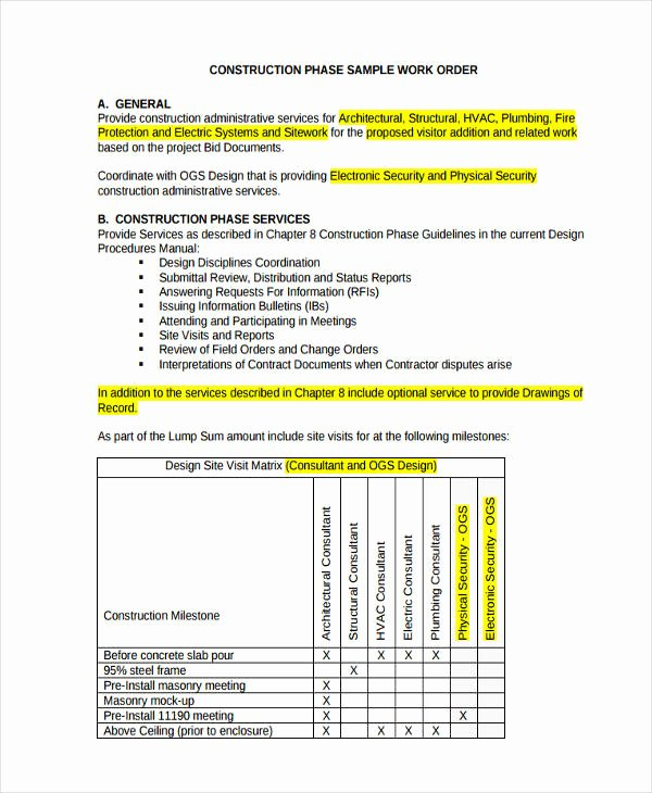 Construction Work order Template Inspirational 17 Work order formats
