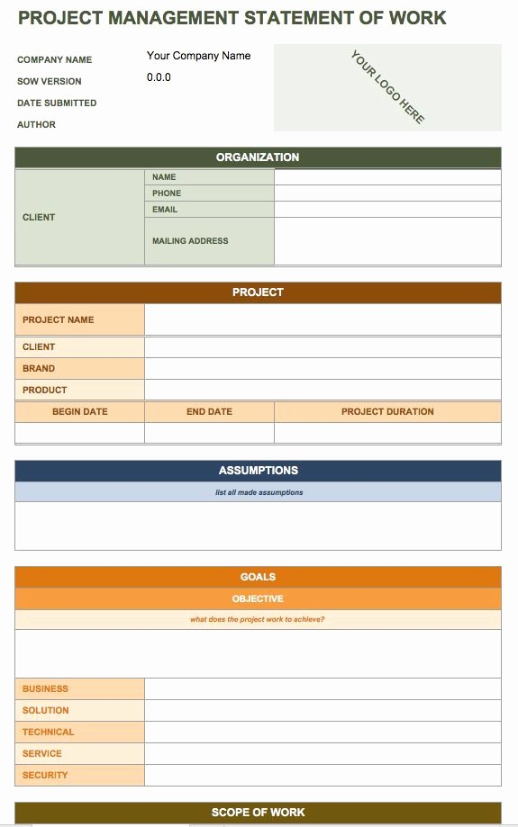 Construction Work Plan Template Elegant Download Construction Statement Work Template – Free