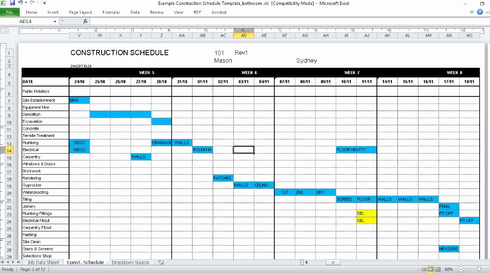 Construction Work Plan Template New Construction Schedule Template