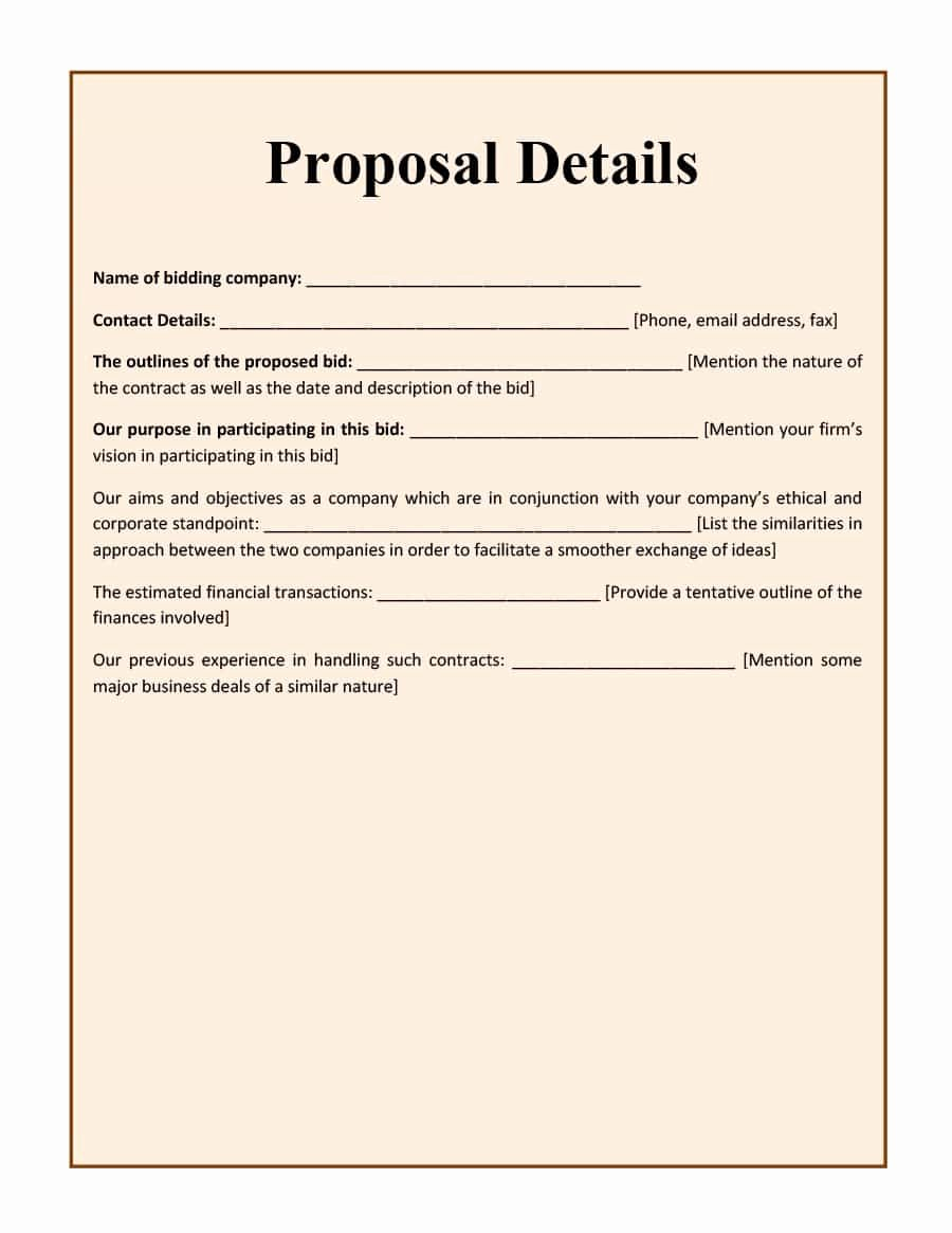 Construction Work Proposal Template Beautiful 31 Construction Proposal Template & Construction Bid forms