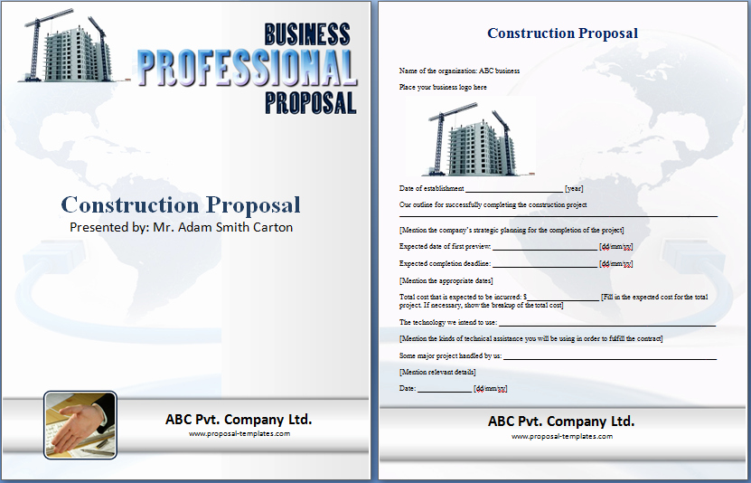 Construction Work Proposal Template Beautiful formal Construction Proposal Template