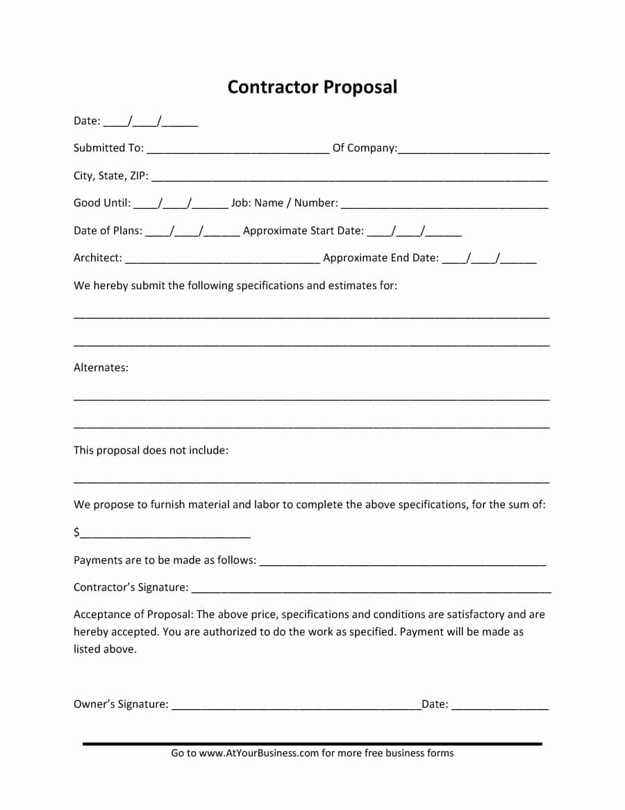 Construction Work Proposal Template Inspirational 31 Construction Proposal Template & Construction Bid forms