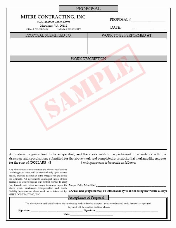 Construction Work Proposal Template Inspirational Printable Blank Bid Proposal forms