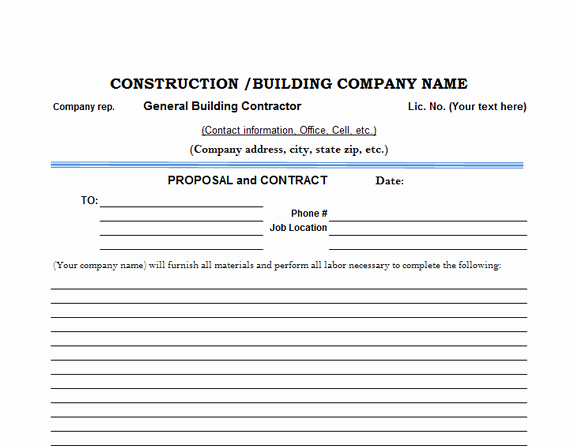Construction Work Proposal Template New Proposal Estimate Template Henrycmartin