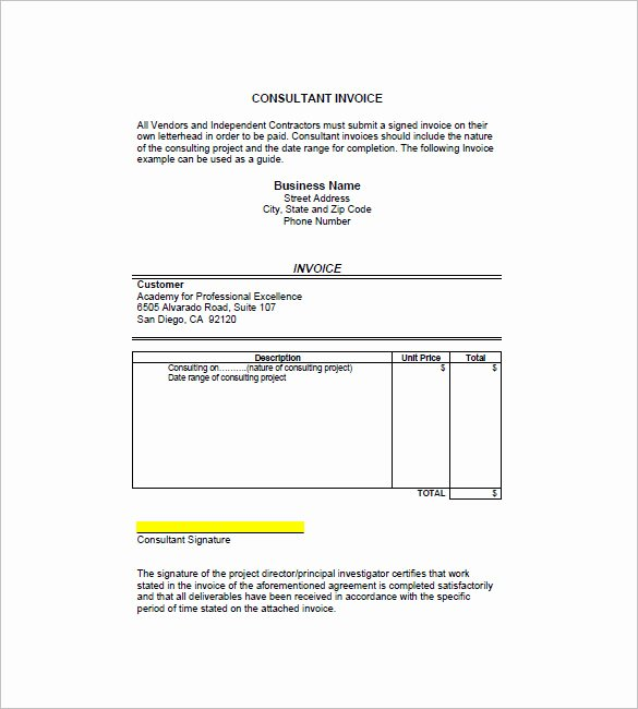 Consultant Invoice Template Excel Awesome 4 Consultant Consulting Invoice Template Free Word