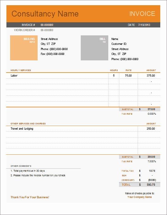 Consultant Invoice Template Excel Elegant Consultant Invoice Template for Excel