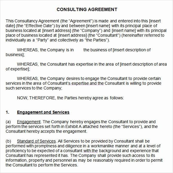 Consulting Contract Template Free Elegant 10 Sample Consulting Agreements
