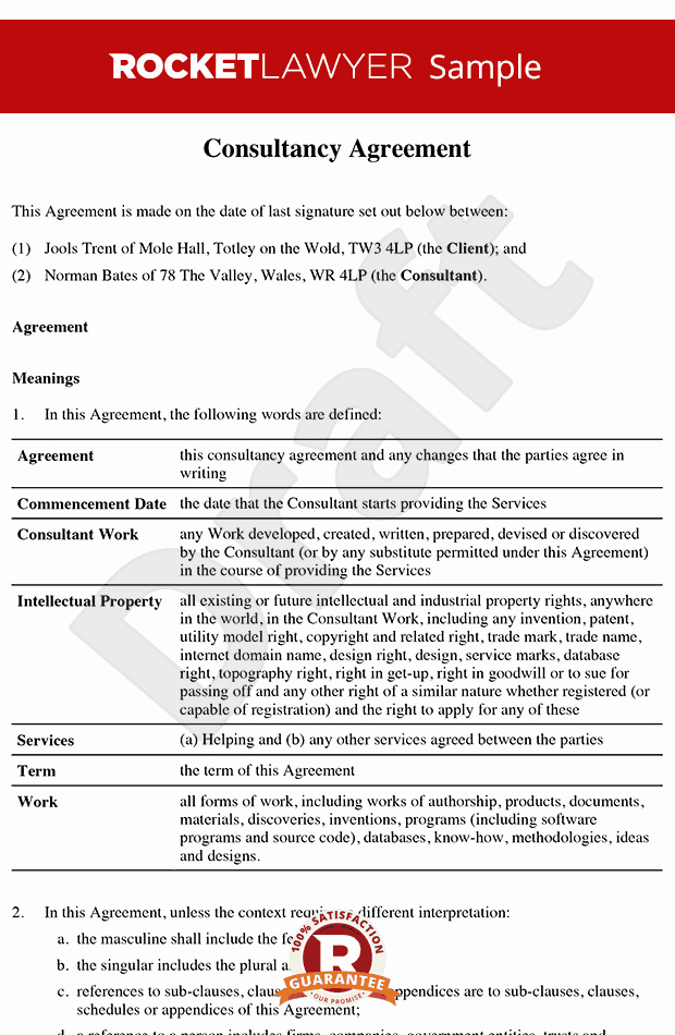 Consulting Contract Template Free Fresh Consultancy Agreement Template Contractor Agreement