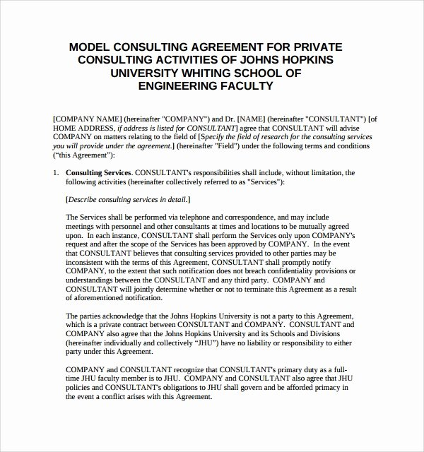 Consulting Contract Template Free Inspirational Consulting Agreement 15 Pdf Doc Download