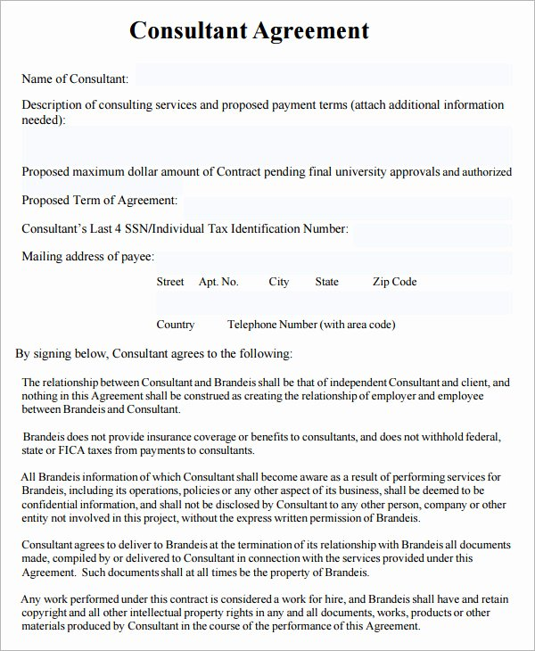Consulting Contract Template Free Inspirational Consulting Agreement 7 Free Pdf Doc Download